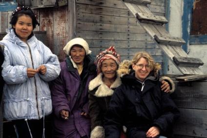 With friends in the reindeer-herding village of Snezhnoe, Chukotka, Russia